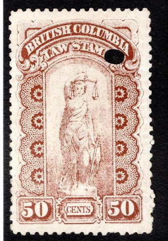 van Dam BCL7 - 50c brown, Used,British Columbia Law Stamp,1888-91, Seond Series