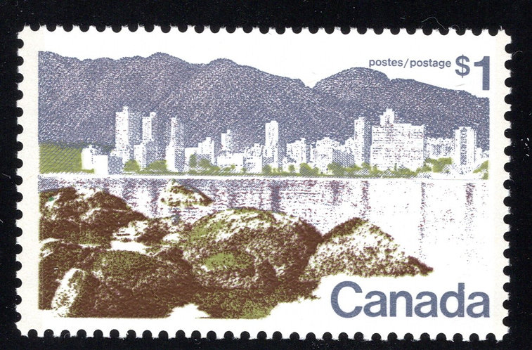 599i Scott - $1, HB (front only), MNHOG, Landscape Definitives, 1972-1977, Canad