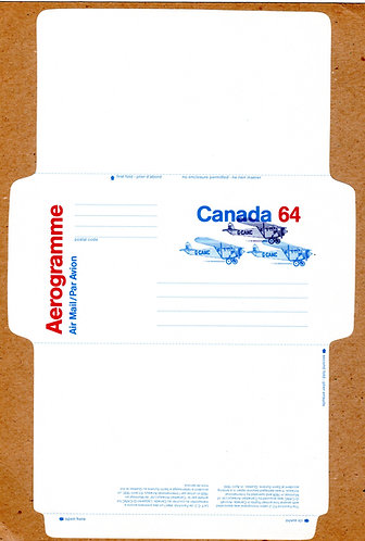 A74 Canada, Aerogramme, 64c blue and red, Fairchild FC-2, Unused, Unfolded