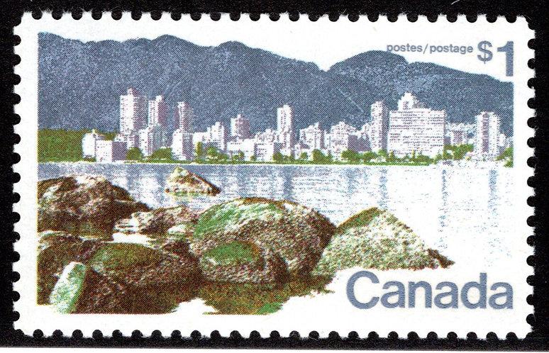 "600ii Scott - $1 ""Short $ Flaw"", VF, MNHOG, Vancouver Landscape Definitive 1972-"