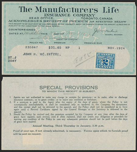 van Dam FX36, 2c, Two Leaf, on Receipt from Life Insurance Co, Canada