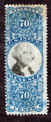 R117 - 70c- Cut Cancel - Blue and Black - US Second IssueRevenue