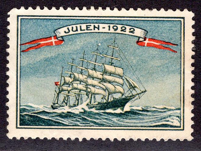 DENMARK (DANMARK) 1922 Used CHRISTMAS SEAL TALL SHIP CINDERELLA - Julen