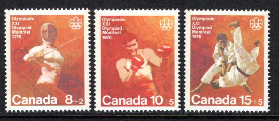 "B7-B9, Canada, ""Combat Sports"", MNHOG, 1975, GT2, Semi-Postal Stamps,1976 Olymp"