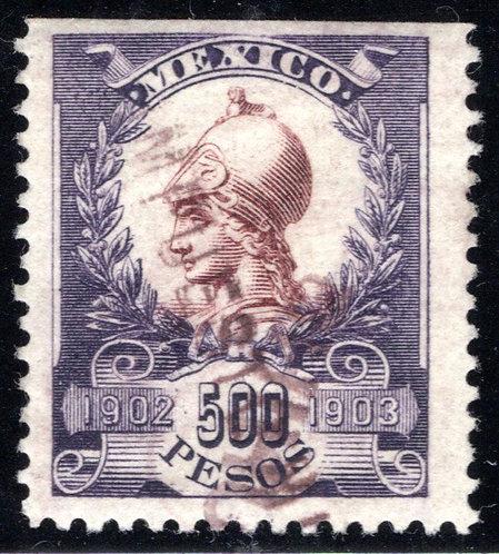 """R 224""""D"""", Mexico, 1902-1903,Warrior Goddess Revenue Stamp"""