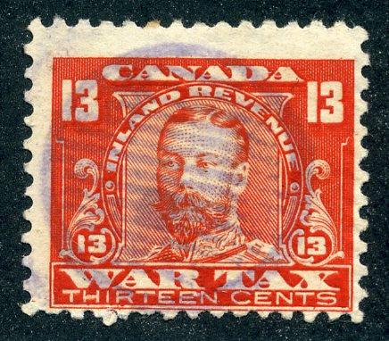 van Dam FWT14 - 13c vermillion - Used - 1915 George V War Tax