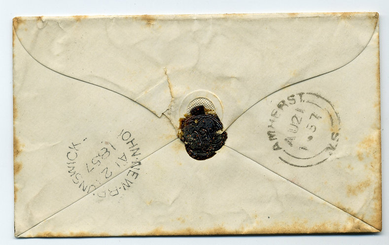 Stampless Cover - 1857 - From Amherst, Nova Scotia to Chipman's Hill, New Brunsw