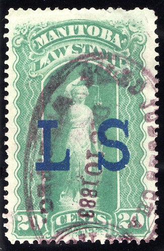 van Dam ML2 - 20c - F/VF used - Manitoba Law 1877 - Dec 10 1883 cancel