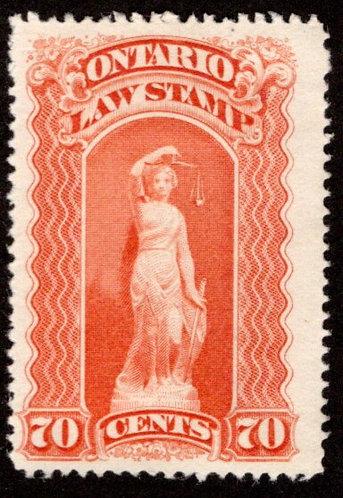 "van Dam OL54, Canada, Ontario, MNG, Law Stamp, blue ""C"", 70c,p.12"