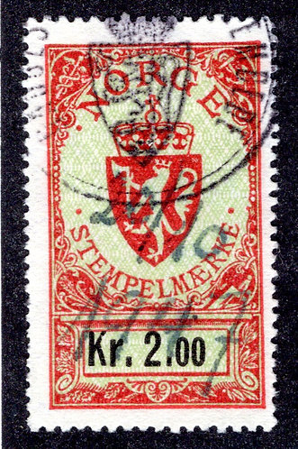 Norge, Stempelmarke, Revenue 2Kr, Used