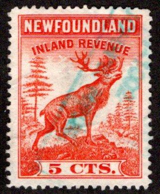 R26, NSSC,Newfoundland, Used,1938 Caribou,5c vermillion, VF/XF,Inland Revenu