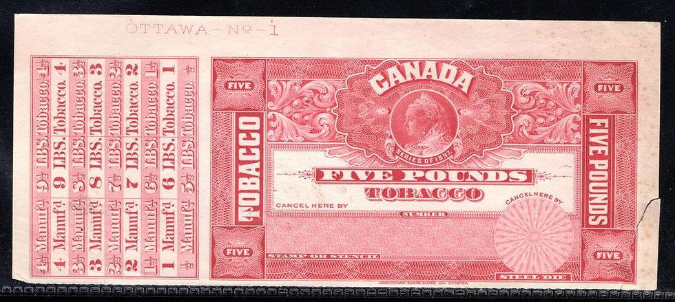 "Ryan RM349a-Brandom M430 - Series of 1897 , 5 pounds, PROOF, imprint, ""OTTAWA"