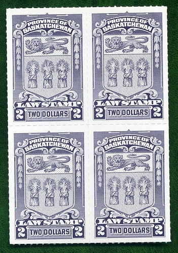 van Dam SL73 - $2 - MNH - Block of 4 - Rouletted - Saskatchewan Law - C/V-$20