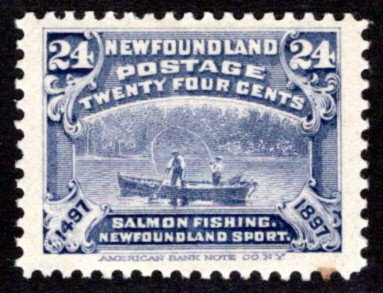 62, NSSC, Newfoundland, 24c, Salmon Fishing, MLHOG, F/VF, Scott 71 Postage Stamp