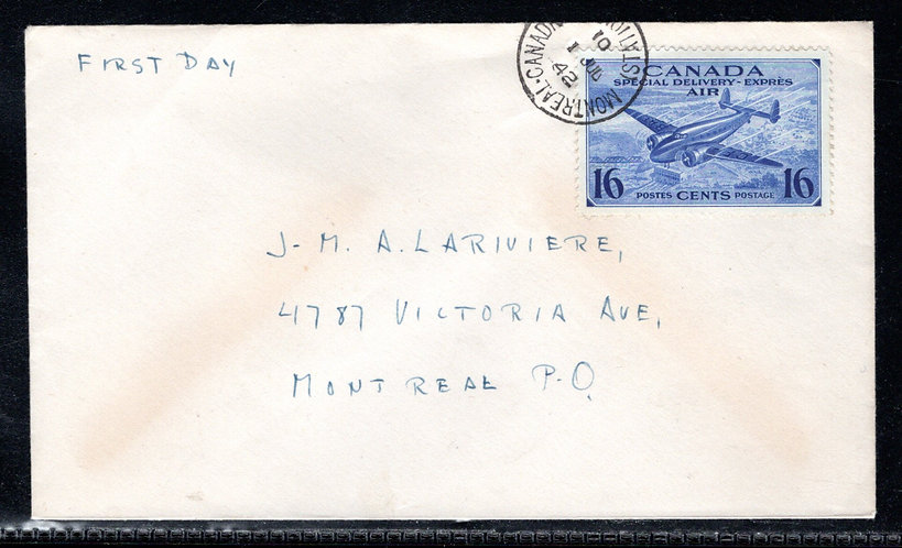 CE1, Scott, FDC, Addressed to Montreal, QC, tied by CDS, 1 Jul 42, no cachet