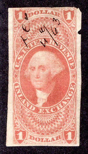 R69a - $1 - Inland Exchange- imperf - used, red, small ms cancel, small tear at