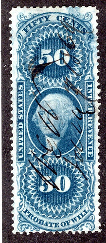 R62c - 50c - Probate of Will- blue - perf - used -m/s cancel - F/VF