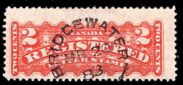F1, 2c, Registration, Canada, p12 , orange, Used, BRIDGEWATER / MR 20 83 / NS