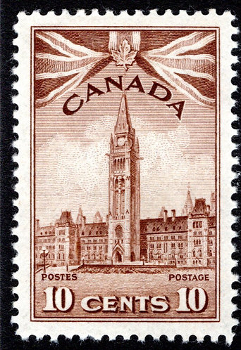 257, Scott, 10c, MLHOG, VF, Parliament Buildings, 1942, Canada Postage Stamps