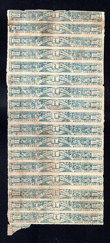 DU 27, Mexico, Durango State, 1884, vertical strip of 17, 1/2c. Arbitrio Municip