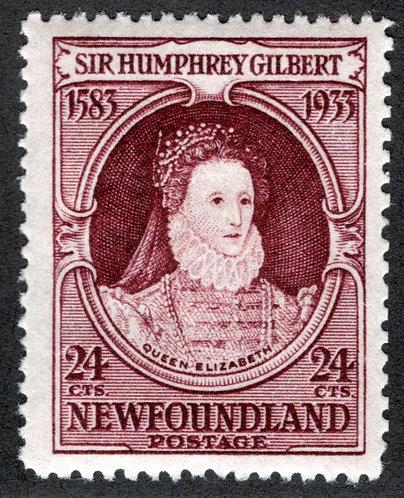 207b, NSSC, Newfoundland, 24c violet brown, inverted watermark, Sir Humphrey