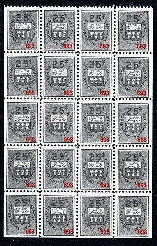 ST13c, 25cblack, Watermarked, booklet pane of 20, VF, MNH, Sask Telephone