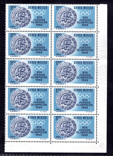Scott C310, Mexico, Air Post, Lower Right Corner Block of 10, MNHOG, 1965, 1.2P