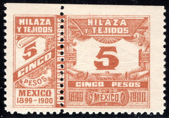 HT 44A, 5P, 1899-1900, Numerals on  scroll, MNH Beauty, VF+, Hilaza y Tejidos