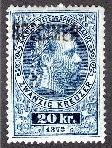 Telegraph - 20kr, H16c, p.13, SUPERB MLHOG, Specimen, Line Engraved, Austria Rev