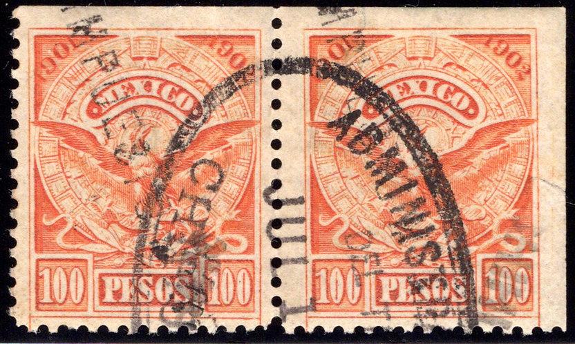 R 211D, MEXICO, Horiz Pair, 1901-1902 National Arms and Aztec Calendar