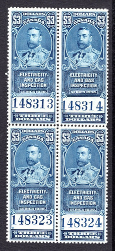 van Dam FEG10, $3, blue, MNHOG, block of 4, 1930, VF, George V, Electricity and
