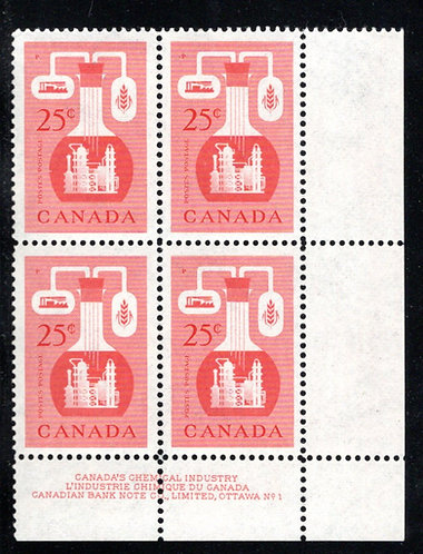 363, Scott, 25c red, PB1, LR, MNHOG, Chemical Industry, Canada Postage Stamps