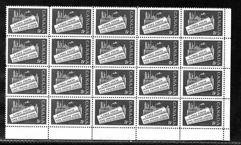 "375, Scott, 5c, Canada, ""A Free Press"",Blank PB, Full Sheet of 50, VF, Postage"