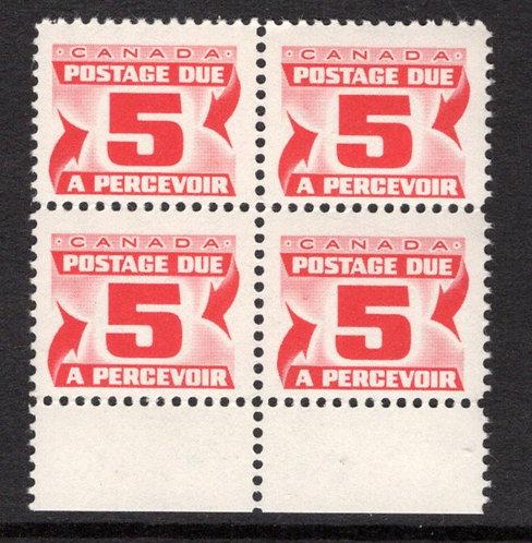 J32a, Scott, 5c, VF, block of 4 with selvedge,2nd Centennial issue, MNHOG, Cana