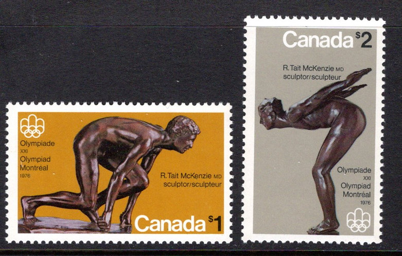 656 / 657, Olympic Sculptures, MNHOG, 1975, Canada Postage Stamps