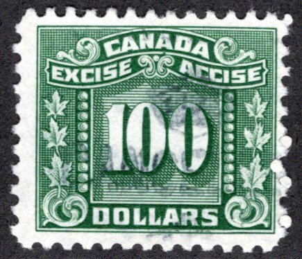 van Dam FX94, $100 green, used, Federal Excise Three Leaf Tax Stamps, F