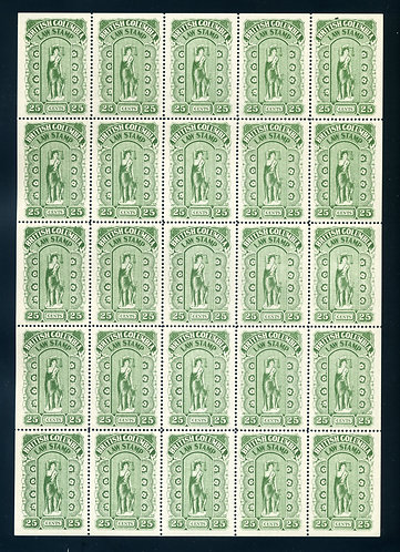 Full sheet of 25 BCL23, British Columbia 1912-26 Fifth Series 25c Green - C/V $9