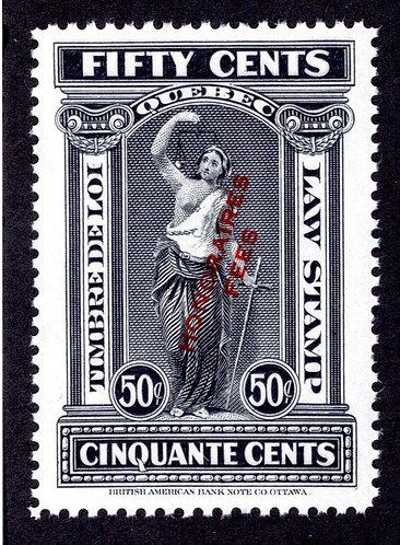 "van Dam QL77 - 50c Black - MNH - Quebec 1923 ""Honoraires-Fees"" - VF"
