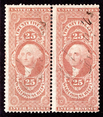 R50c Pair- 25c Warehouse Receipt, red, perf - F - ms cancels - tear on one