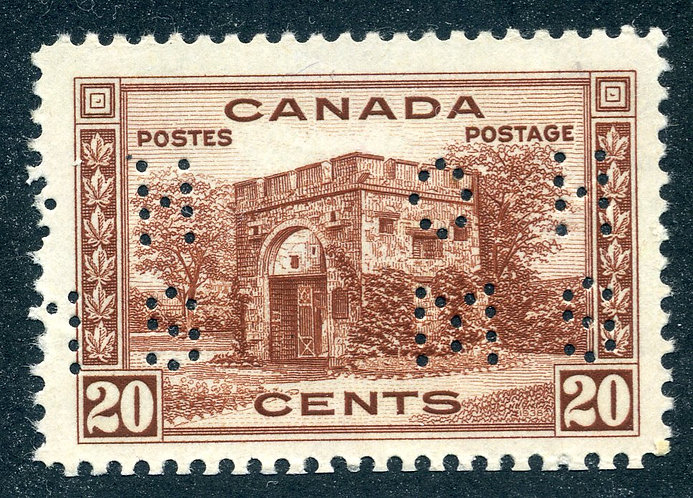 O243 - MLH -20c Fort Garry - Small OHMS - 4 hole - Pictorial Issue 1938