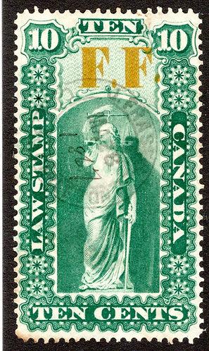van Dam OL17, 10c used, F.F. (FeeFund), Raised Second Period Variety