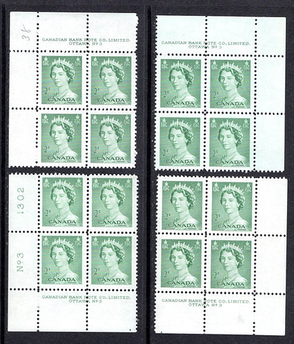 "326 Scott, Canada, 2c, PB3, Mint Set of Plate Blocks, MNH, QEII ""Karsh"" Portrait"