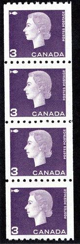 407, Scott, 3c purple, Strip of 4, VF, MNHOG, Cameo Issue, Coil