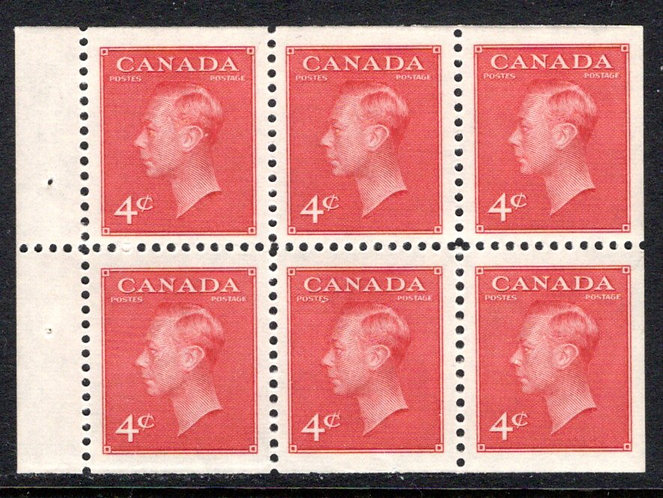 "287b, Scott, booklet pane of 6 x 4c (BK41a), MNHOG, VF, KGVI with ""postes/postag"