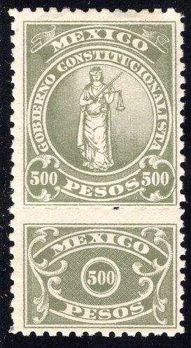 RV 42, MEXICO, MHOG, 1914-1915, 500P Olive, Revolutionary Issue Revenue Stamp