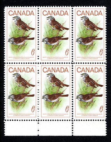 496, Scott, 6c, MNHOG, Block of 6 with selvedge, White Throated Sparrow, 1969