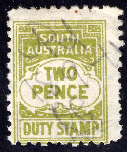 1916 South Australia,Two Pence, Duty Stamp, p.10 Used