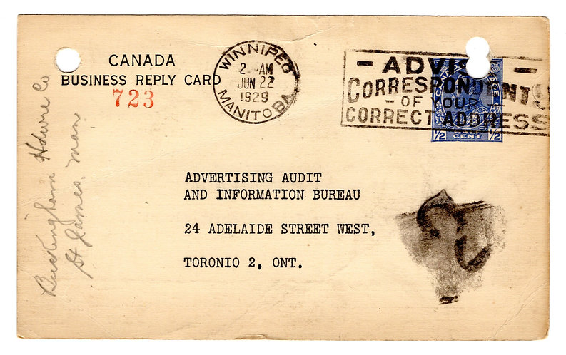 P27, ½c blue, Type 9, 1912-1929 Admiral Issue, Regular Issue Canada Post Card
