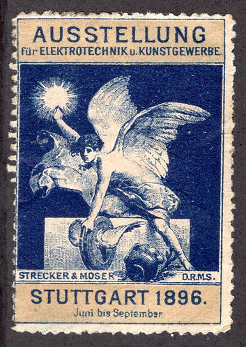 World EXPO Electricity1897 Poster Stamp 1896 Stuttgart Germany Ausstellung Used
