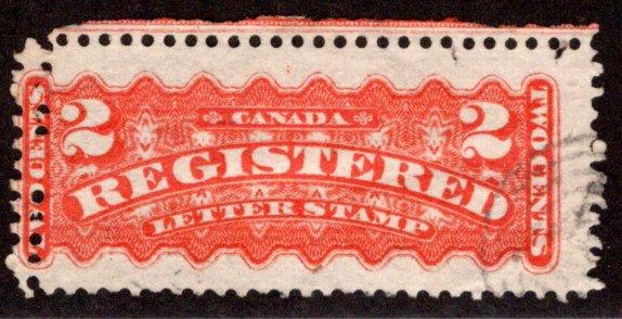F1, 2c, Registration Stamp, Canada, p12 , orange, Used, misperf error, imprint